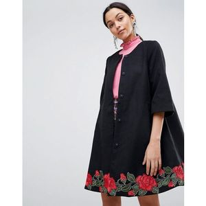 Traffic people smart jacet with rose embroidery - black