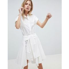 AllSaints Shirt Dress with Self Tie - White