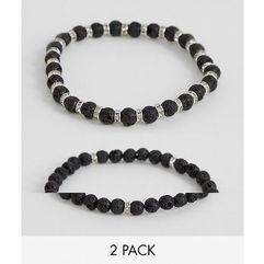 Asos design beaded bracelet 2 pack with semi precious stones and crystals - black