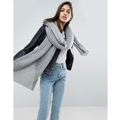 ASOS Oversized Long Knit Scarf - Grey