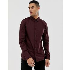 AllSaints Slim Fit Shirt In Burgundy With Logo - Red