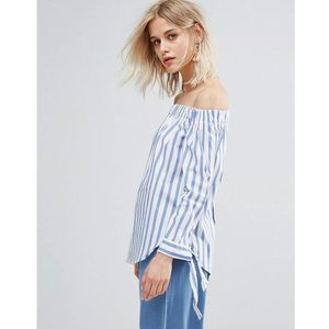 Mango stripe and tie sleeve off the shoulder top - blue