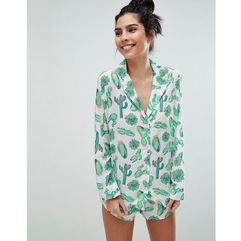 cactus 100% modal traditional shirt & short pyjama set - multi marki Asos design