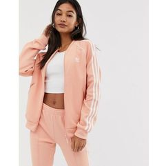 adidas Originals adicolor three stripe track jacket in pink - Pink