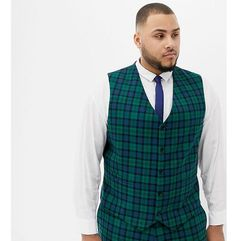 ASOS DESIGN Plus wedding skinny suit waistcoat in blackwatch tartan - Green, kolor zielony
