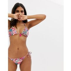 Accesorize reversible tie side bikini bottom in bright floral - Multi