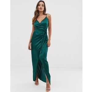 Girl In Mind wrap maxi dress - Green, kolor zielony