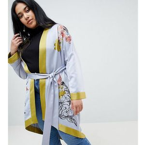Lost Ink Plus Longline Kimono With Embroidery - Blue
