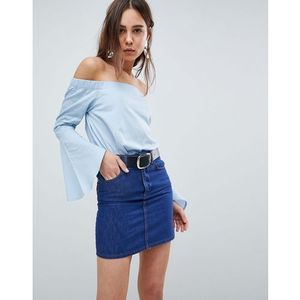 Neon Rose Poplin Fluted Sleeve Bardot Top - Blue, w 5 rozmiarach