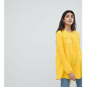 relaxed smock top with tie cuffs in ditsy floral - yellow marki Glamorous tall