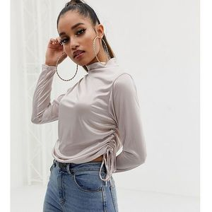 Missguided petite ruched side silky top in silver - beige