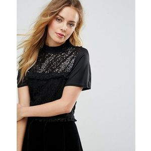 Zibi London Cropped Lace Top - Black, 1 rozmiar