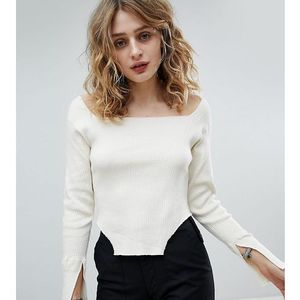 Milk It Vintage Square Neck Ribbed Top - Cream, kolor beżowy