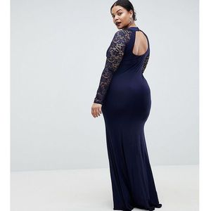 Club l plus slinky fishtail maxi dress with lace open back - navy