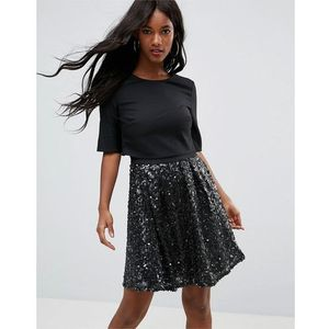 Little Mistress Velvet Skaterdress With Hevily Embellished Skirt - Black
