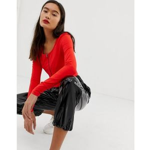 Noisy May zip through cropped top - Red