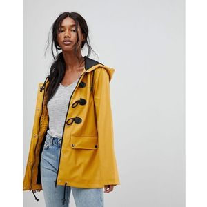 trucker rubberised raincoat with duffle fastenings - yellow marki Brave soul