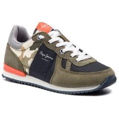 Sneakersy PEPE JEANS - Sydney Camu Summer PBS30392 Khaki Green 765, kolor zielony