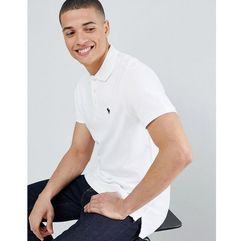 Abercrombie & Fitch stretch slim fit pique polo icon logo in white - White