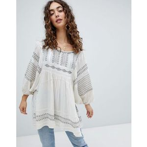 Free People Wild One embroidered smock top - White