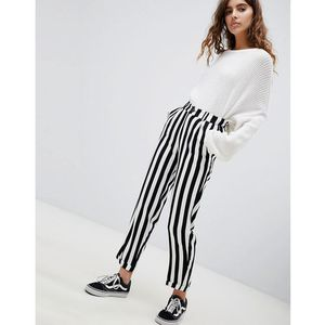 Pull&Bear tapered trouser in black and white stripe - Multi