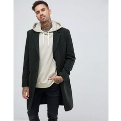 ASOS DESIGN wool mix overcoat in dark green - Green