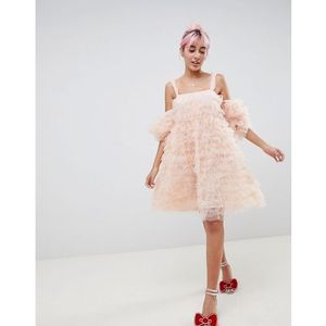 Hello Kitty x ASOS DESIGN cold shoulder dress - Pink, kolor różowy
