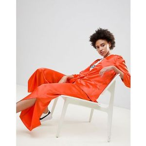 wide leg trousers with side split - orange marki Moss copenhagen