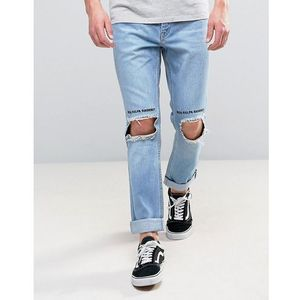 Kubban slim rolled hem jeans with blown out knees - blue
