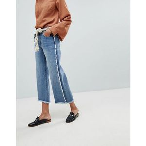 Current Air Wide Leg Jean with Raw Finish - Blue, 1 rozmiar