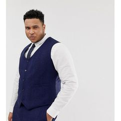 ASOS DESIGN Plus wedding skinny suit waistcoat in blue wool blend herringbone - Blue