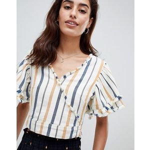 River island wrap front multi stripe crop top - yellow
