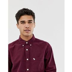 slim fit icon logo oxford shirt in burgundy - red, Abercrombie & fitch, XS-XXL