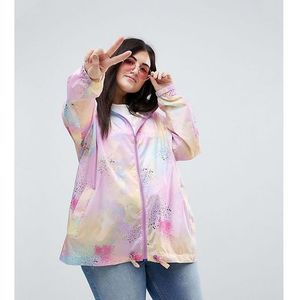 Asos curve Asos design curve rainwear jacket with bum bag in pastel spray paint - multi