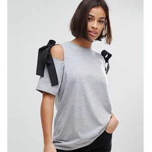 ASOS PETITE Top with Cold Shoulder and Woven Ties - Grey, kolor szary