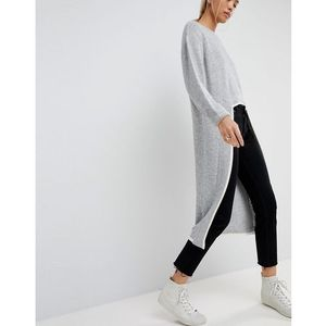 ASOS WHITE Extreme Dipped Hem Knitted Jumper - Grey