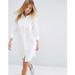 ASOS DESIGN cotton mini shirt dress - White, kolor biały