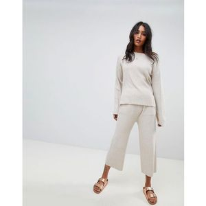Micha Lounge Wide Leg Cropped Ribbed Joggers Co-Ord - Beige