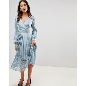 Little mistress wrap front midi dress with lace pleated skirt - blue