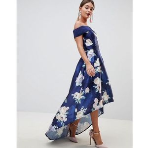 satin midi dress with extreme high low in floral - navy, Chi chi london