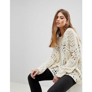 travelling crochet lace jumper - cream marki Free people