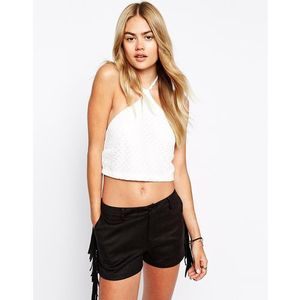 Motel Tye Knit Crop Top - White