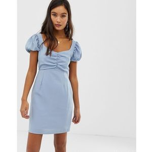 tea dress with ruched bust - blue marki Glamorous