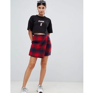 PrettyLittleThing wrap tartan mini skirt in check - Red