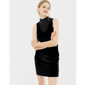 QED London velvet mini dress with mesh insert - Black