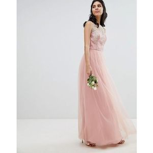 Chi Chi London Sleeveless Maxi Dress with Premium Lace and Tulle Skirt - Pink, kolor różowy