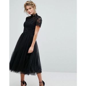Chi Chi London high neck lace midi dress with tulle skirt in black - Black, kolor czarny