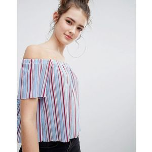 Bershka stripe off the shoulder top plisse in blue - Blue, kolor niebieski