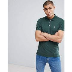stretch pique slim fit polo icon moose logo in green - green marki Abercrombie & fitch