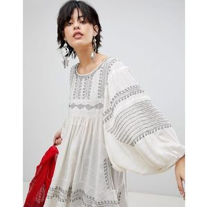 Free people wild one embroidered tunic top - white